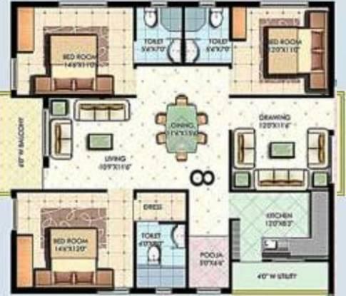 Aditya Eden Park (3BHK+3T (1,805 sq ft) Apartment 1805 sq ft)