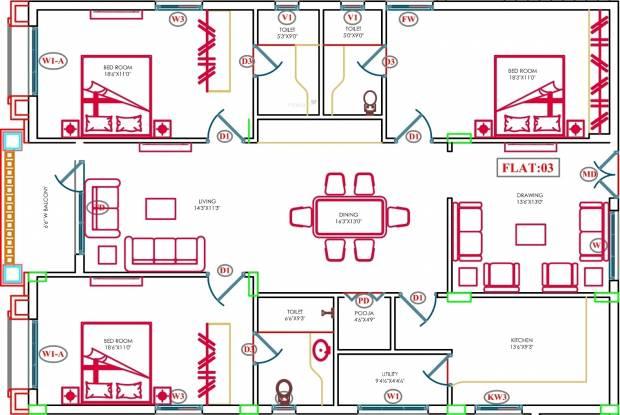 Aditya Eden Park (3BHK+3T (2,185 sq ft)   Pooja Room Apartment 2185 sq ft)
