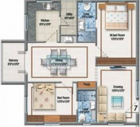 Aditya Imperial Heights (2BHK+2T (1,250 sq ft) Apartment 1250 sq ft)