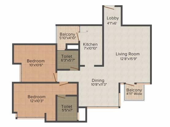Pioneer Pioneer Park PH 1 (2BHK+2T (1,200 sq ft) Apartment 1200 sq ft)
