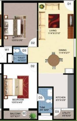 Jampa Delight (2BHK+2T (1,075 sq ft) Apartment 1075 sq ft)