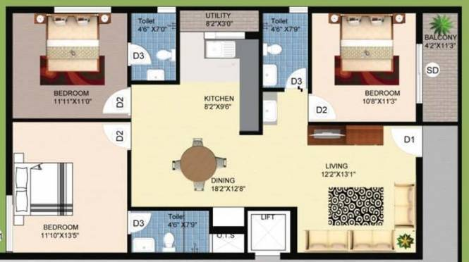Jampa Delight (3BHK+3T (1,385 sq ft) Apartment 1385 sq ft)