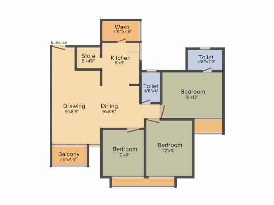 Dharmadev Neelkanth Riverview (3BHK+3T (1,500 sq ft)   Pooja Room Apartment 1500 sq ft)