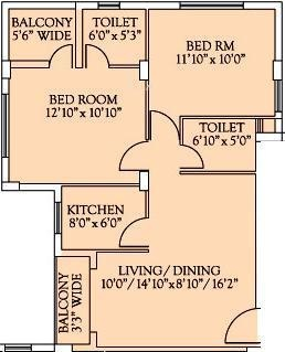 Unimark Srijan Heritage Enclave (2BHK+2T (966 sq ft) Apartment 966 sq ft)