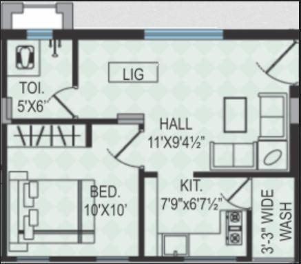EAPL Sri Tirumala Harmony (1BHK+1T (522 sq ft) Apartment 522 sq ft)