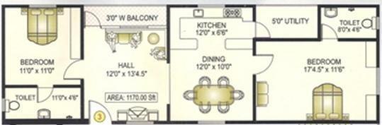 Matrixx Elegant Mansion (2BHK+2T (1,170 sq ft) Apartment 1170 sq ft)