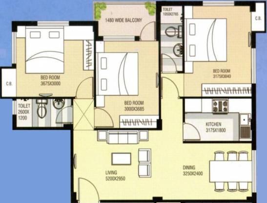 Saket Saket Nagar (3BHK+2T (1,298 sq ft) Apartment 1298 sq ft)
