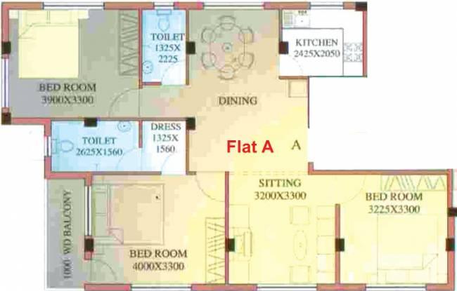 Trans Topaz (3BHK+2T (1,384 sq ft) Apartment 1384 sq ft)