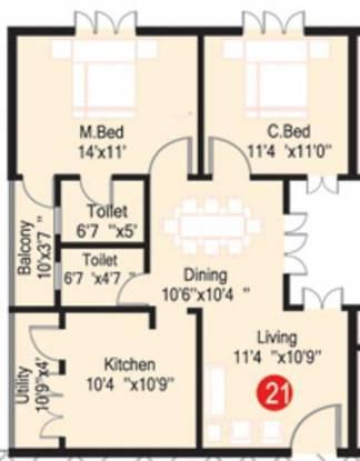 GK Habitat Royale (2BHK+2T (1,040 sq ft) Apartment 1040 sq ft)