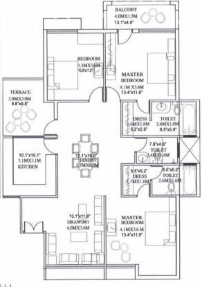 Amrit Pebble Bay Phase 1 (3BHK+3T (1,460 sq ft) Apartment 1460 sq ft)