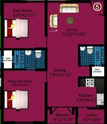 DS DSMAX SPECTRUM (2BHK+2T (1,010 sq ft) Apartment 1010 sq ft)