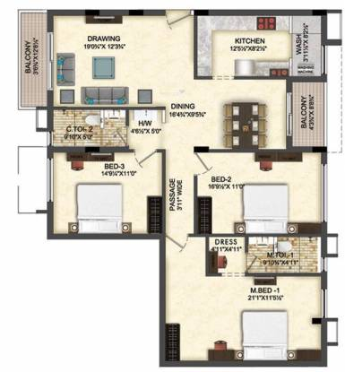 GVSPL Lotus (3BHK+2T (1,950 sq ft) Apartment 1950 sq ft)