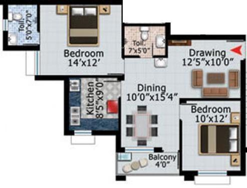Shuvam Daitari Enclave (2BHK+2T (1,224 sq ft) Apartment 1224 sq ft)