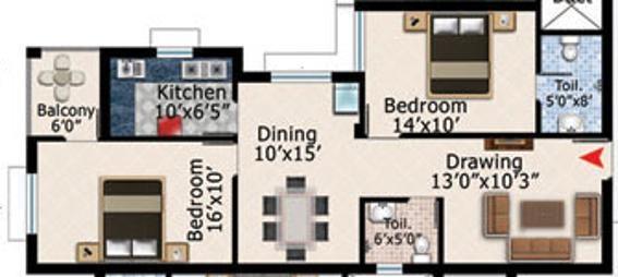 Shuvam Daitari Enclave (2BHK+2T (1,298 sq ft) Apartment 1298 sq ft)