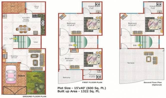 Om Construction And Builder Royal Homes (3BHK+3T (1,322 sq ft) Villa 1322 sq ft)
