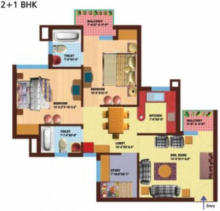 SRS Royal Hills (2BHK+2T (1,133 sq ft) Apartment 1133 sq ft)