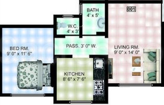 Panvelkar Vellozia (1BHK+2T (682 sq ft) Apartment 682 sq ft)