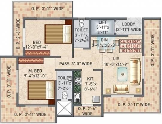 Panvelkar Vellozia (2BHK+2T (1,357 sq ft) Apartment 1357 sq ft)