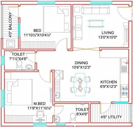 Green City Homes (2BHK+2T (1,100 sq ft) Apartment 1100 sq ft)