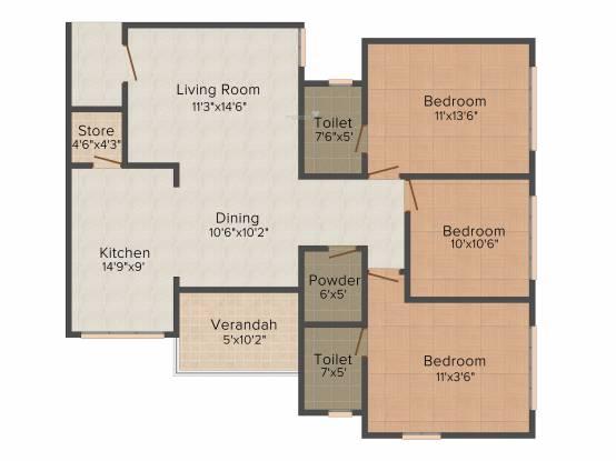 Aavkar Abhilash (3BHK+2T (1,980 sq ft) Apartment 1980 sq ft)