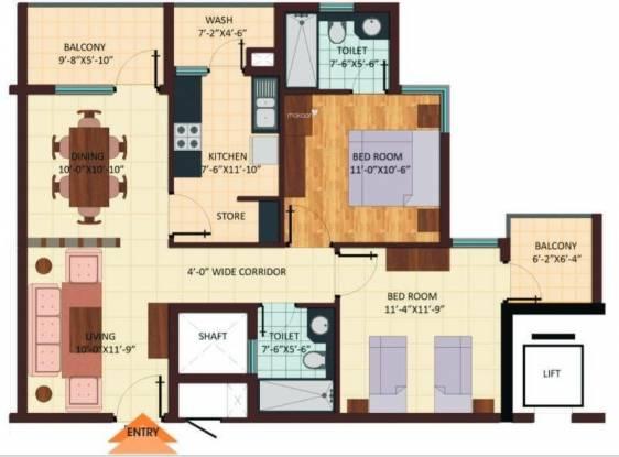 Shristi Avasa (2BHK+2T (1,285 sq ft) Apartment 1285 sq ft)