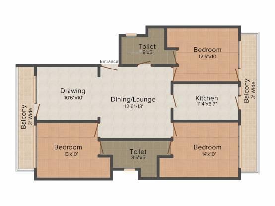 TDI Tuscan Residency (3BHK+2T (1,322 sq ft) Apartment 1322 sq ft)