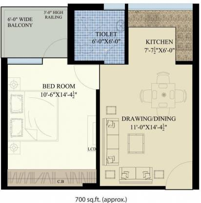 SBP Homes (1BHK+1T (700 sq ft) Apartment 700 sq ft)