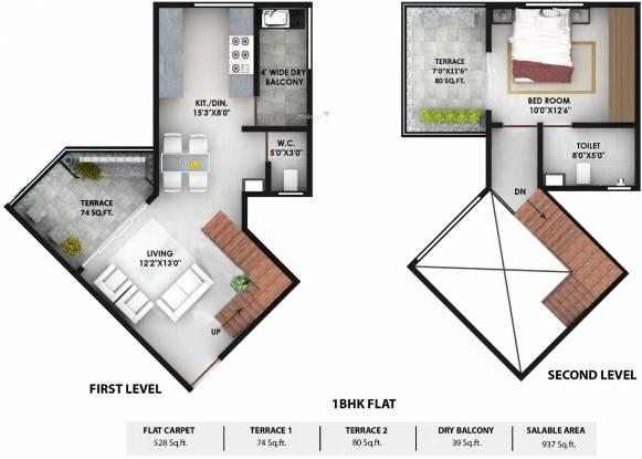 Prithvi Presidio (1BHK+1T (937 sq ft) Apartment 937 sq ft)