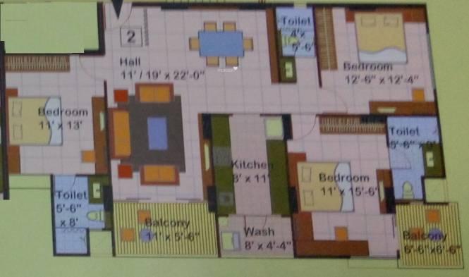 Milan Milan Heights Apartments (3BHK+3T (1,856 sq ft) Apartment 1856 sq ft)