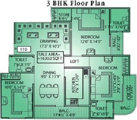 Pearl Pearl Springs (3BHK+3T (1,630 sq ft) Apartment 1630 sq ft)