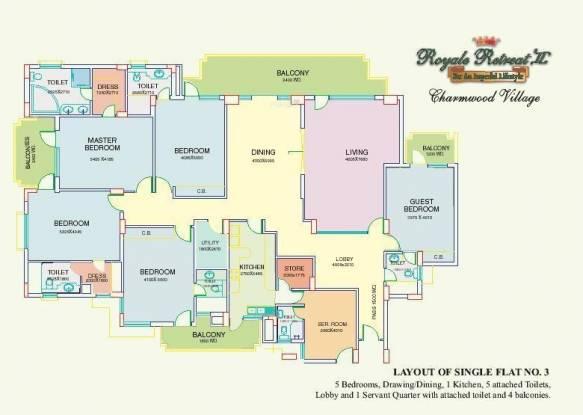 Eros Royale Retreat II (5BHK+5T (4,400 sq ft) + Servant Room Apartment 4400 sq ft)