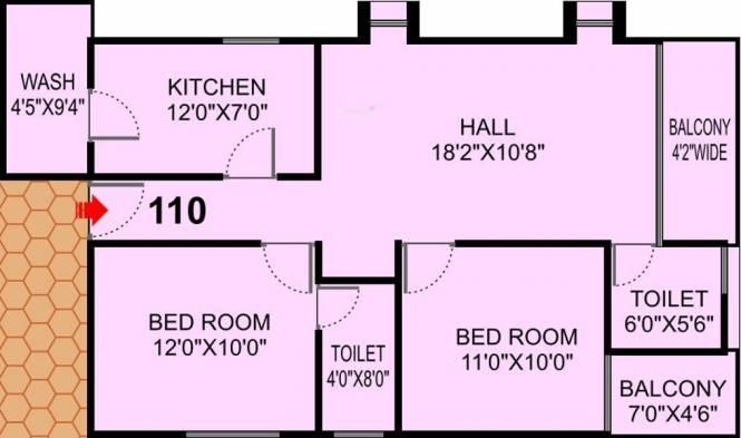 Shri Solitaire Park (2BHK+2T (1,127 sq ft) Apartment 1127 sq ft)