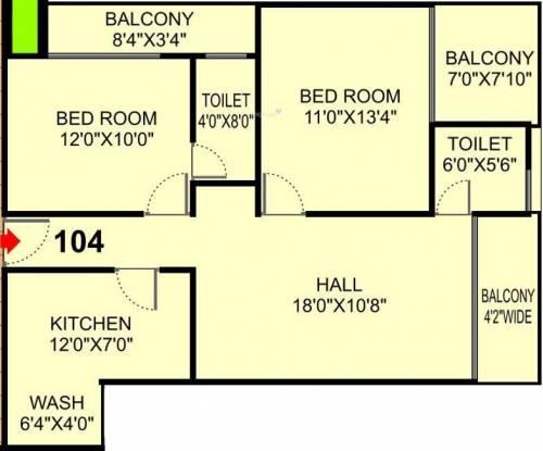 Shri Solitaire Park (2BHK+2T (1,232 sq ft) Apartment 1232 sq ft)