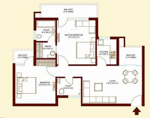 Bajwa Sunny Urban Greens (2BHK+2T (1,270 sq ft) Apartment 1270 sq ft)