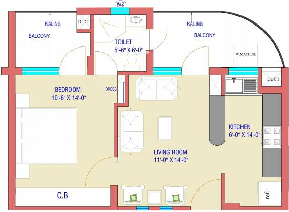 Bajwa Sunny Heights (1BHK+1T (732 sq ft) Apartment 732 sq ft)