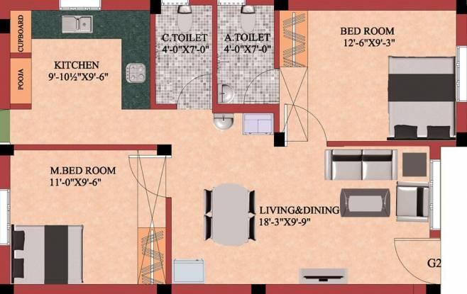 Shree Ramana Flats (2BHK+2T (946 sq ft) Apartment 946 sq ft)