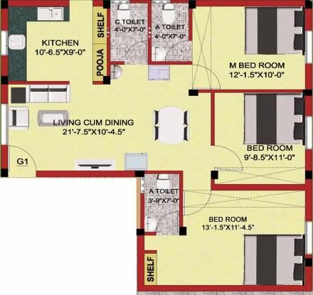 Shree Ramana Flats (3BHK+3T (1,147 sq ft) Apartment 1147 sq ft)