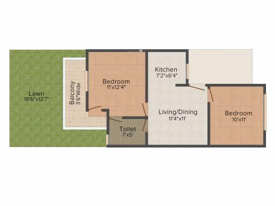 Shanti Hollywood Heights I (2BHK+2T (1,190 sq ft) Apartment 1190 sq ft)