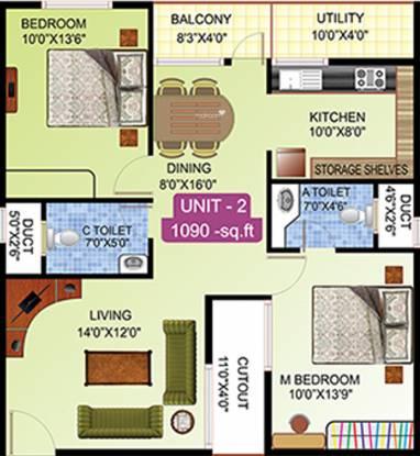 Viktra Pristine (2BHK+2T (1,090 sq ft) Apartment 1090 sq ft)