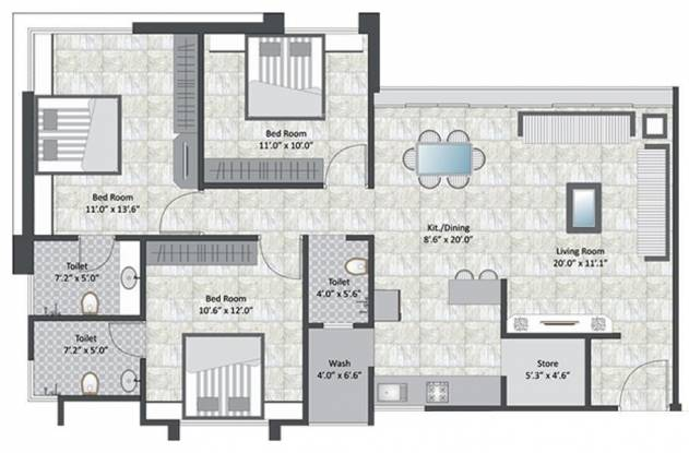 Earth Casa Central (3BHK+3T (1,500 sq ft) Apartment 1500 sq ft)