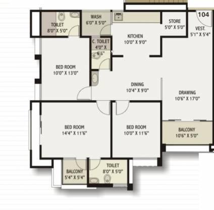 Dev Group Dev Status (3BHK+3T (1,845 sq ft) Apartment 1845 sq ft)