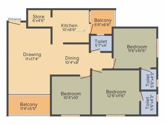 Vandemataram Homes (3BHK+3T (1,584 sq ft) Apartment 1584 sq ft)