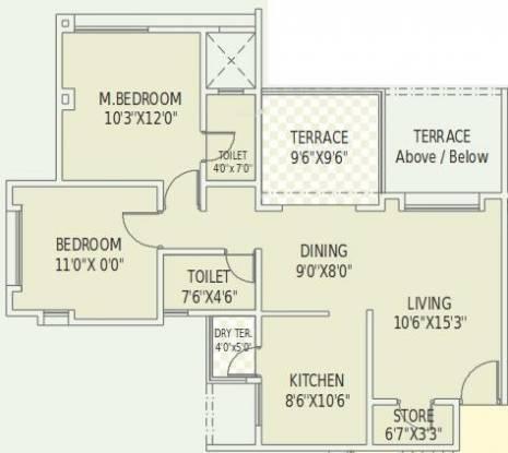 Dodke Park (2BHK+2T (1,033 sq ft) Apartment 1033 sq ft)