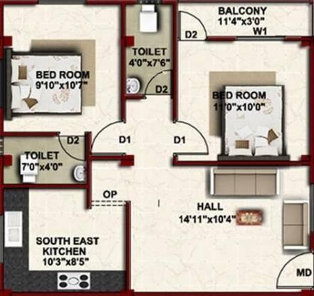 Bluewall Harsham (2BHK+2T (682 sq ft) Apartment 682 sq ft)