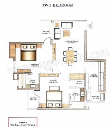 Maya Garden2 (2BHK+2T (1,100 sq ft) Apartment 1100 sq ft)