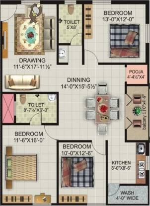 Lakshmi Royal Castle (3BHK+2T (1,602 sq ft)   Pooja Room Apartment 1602 sq ft)