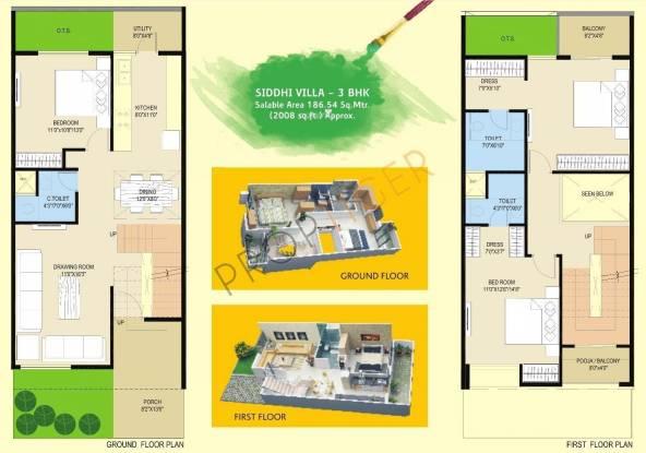 Samarth Shikharji Dreamz Villas (3BHK+3T (2,008 sq ft) Villa 2008 sq ft)