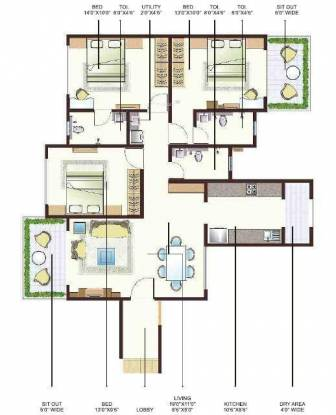 Anmol City Two (3BHK+3T (1,430 sq ft) Apartment 1430 sq ft)