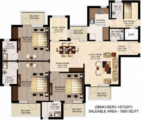Suncity Sukriti CGHS (3BHK+3T (1,850 sq ft)   Study Room Apartment 1850 sq ft)