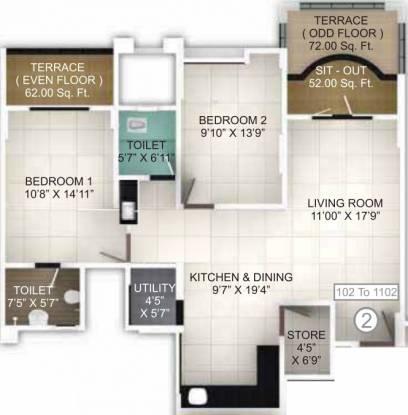 Pethkar Samrajya (2BHK+2T (1,219 sq ft) Apartment 1219 sq ft)